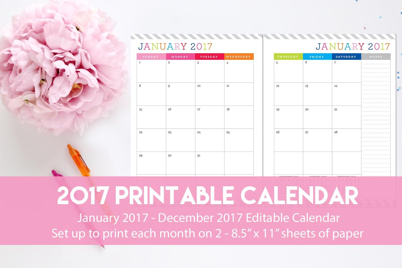 Editable calendar | Etsy