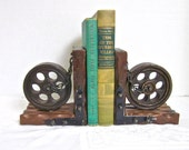 Bookends Wooden Wheels Vintage Desk Man Gift Office Made in Spain Spanish Retro 1960s 1970s