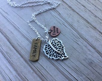 Leaf Mixed Metals Charm Necklace- Leaf, FAMILY, I love you- with your choice of chain