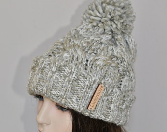 Pom Pom Hat Knit Women Hat Beanie Hat Cabled Adult Teen Hat CHOOSE COLOR Gray Ivory Chunky Hat Christmas Gift under 50