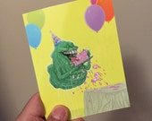 Slimer Ghostbusters birthday card