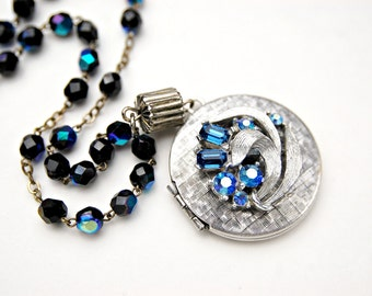 Locket Necklace - Aurora Borealis Dark Blue Rosary Bead Necklace - Silver Locket - Vintage Locket - Rosary Necklace