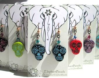 Custom Color Sugar Skull Earrings, Halloween Earrings, Skull Day of the Dead Southwestern Dangle Earrings, Crystal Glass Goth Boho, HO0025