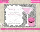 Cupcakes and Cocktails Bridal Shower Invitation Invite Bachelorette Birthday Invitation Wedding Shower DIY printable Choose a color