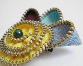 Yellow Bird Zipper Brooch Pin