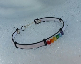 Rainbow Gay Lesbian Crystal Pride Bangle Bracelet LGBT/GLBT