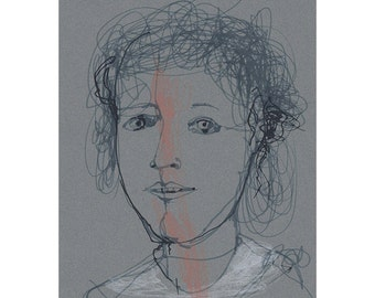 art Girl woman  portrait original drawing people figurative line