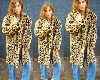 leopard print faux fur coat cheetah print animal print plush cozy faux fur 1980s 90s rock and roll kate moss bohemian style leopard coat