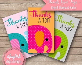 Printable Elephant Thank You Tags - Bright Elephants in Teal, Fuchsia, Lime - INSTANT DOWNLOAD