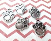 Paw Print Charms Antiqued Silver Dog Charms Paw Charms Pendants 10 pieces