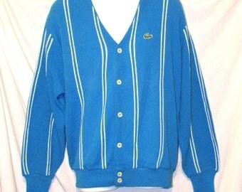 Reduced. Green Gator IZOD Lacoste Azure/Sky Blue with Stripes Cardigan Sweater sz L