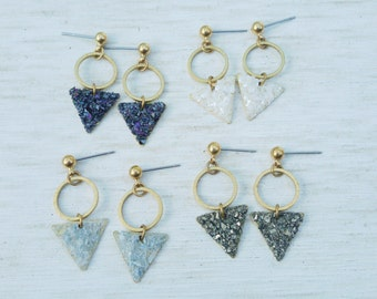 Triangle crystal druzy drop geometric brass earrings