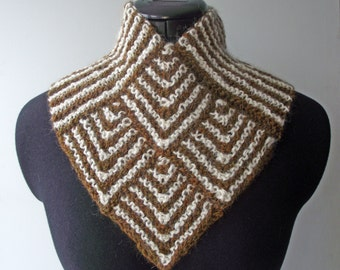 Brown & Cream Knitted Cowl, Artisan Handspun Buff, Mothers' Day, Alpaca, Merino, Cowl, Alpaca Merino Handspun Neckwarmer, Knitted Scarf