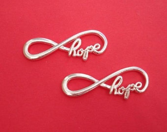10pcs-Hope Infinity Link Connector Bright Silver For Bracelet.