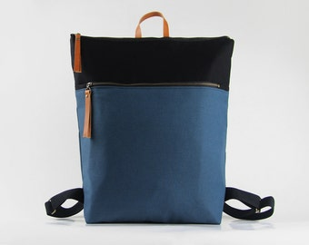 Unisex, Teal blue and black canvas Backpack, laptop backpack, diaper bag with zipper closure and front zipper pocket, Design by BagyBags