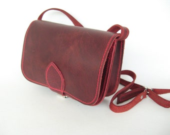 Leather cross body bag/mini bag wallet, travel bag, in many colours