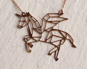 Unicorn Necklace ... Geometric Horse Pendant