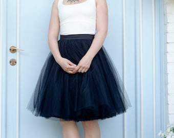 "ON SALE 50% off - Waist 72cm - 28,3"" Sample Size, Black Tulle Skirt, bridesmaid tulle skirt"