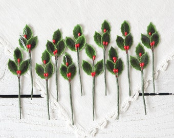 Mini Holly Picks - Vintage Style Lacquered Holly Leaves and Berries, Set of 12 Floral Stems