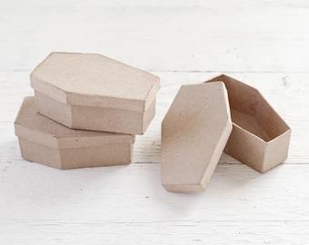 Mini Coffin Boxes - Set of 3 Halloween Paper Mache Cardboard Caskets