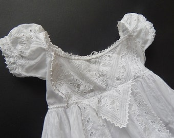 Ayrshire Christening Gown Antique Handmade with Exquisite Embroidery c.1840-50