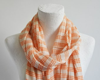 The Best Quality Orange striped COTTON Scarf - Shipping with FedEx