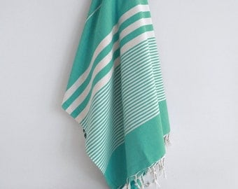 SALE 50 OFF / Turkish Beach Bath Towel / Classic Peshtemal / Green Turquoise / Wedding Gift, Spa, Swim, Pool Towels and Pareo