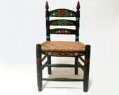 Wood Chair Rush Seating Mexican Folk Art Hand Painted Furniture Bohemian Decor Black Boho Chair Mexican Dining Chair