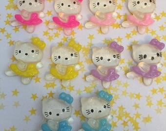10 Pcs Hello Kitty Ballerina Cabochon Flatback Destash