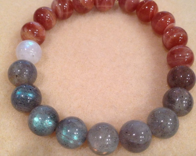 SOLAR MOONPHASE Black Moonstone, Rainbow Moonstone, Labradorite & Sunstone 10mm Round Bead Stretch Bracelet with Sterling Silver Accent