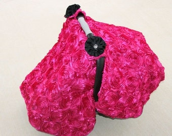 Fall SALE Custom Hot Pink 3d Roses Car Seat Canopy Tent with Floral Bling