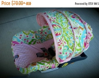 Fall SALE Baby Girl Infant car seat cover-beautiful pinks blues and greens with pink minky -  Always comes with FREE strap Covers