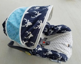 Bucks & Arrows Infant car seat cover, Hunting baby seat cover, boy infant car seat cover - Custom Order- Always comes with FREE Strap Covers