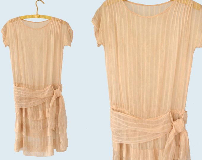 1920s Sheer Pink Silk Dress size S