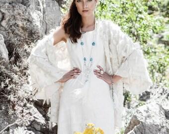 Wool Cape Coat, Womens Cape Jacket, White Wool Cardigan, Fur Coat, Eco Clothing, Boho Poncho Jacket, Womens Outerwear, Warm Jacket