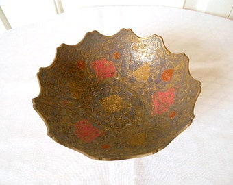 Vintage India brass enamel Bowl
