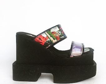 90's Luichiny Vintage Geisha Platform Wedge Comic Book Sandals // 7 - 7.5