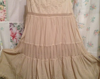 LARGE, Bohemian Hippie Tiered Cotton Skirt
