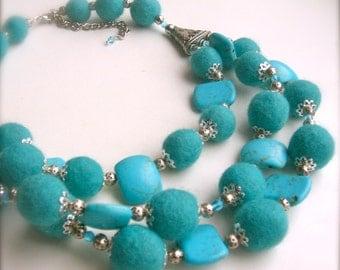 Felt necklace- Wool stone metal - Handmade- OOAK- Felt necklace with beads - turquoise necklace