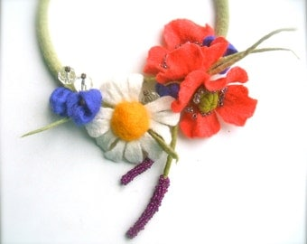 Romantic handmade flowers necklace Summer meadow - felt necklace- floral accessories - handmade- wool necklace