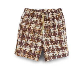 Casual Mens Shorts Cotton, Mens Gift, Handmade Brown Shorts, Batik Cotton Short, Mens Casual Short, Valentine Gift
