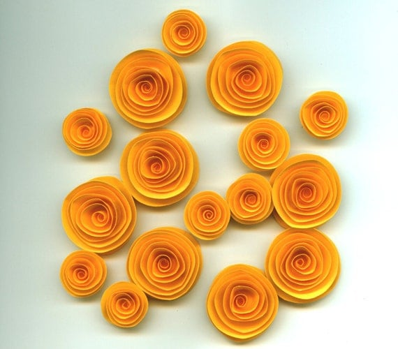 Yellow Handmade Spiral Paper Flowers From Crazy2becrazy On