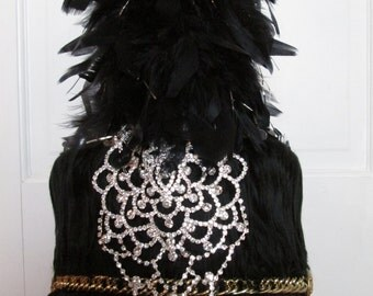 Black Marching Band Hat For Burning Man Festival Rave Accessory