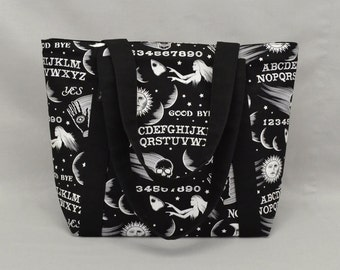 The Agent - Large Shoulder Tote Bag Ouija Board Print Black and White