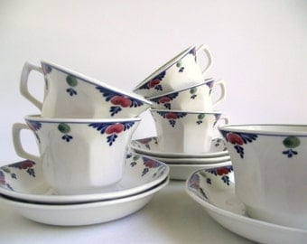 Adams Veruschka Cups and Saucers , Set of 6 Hand Decorated English Ironstone Cups and Saucers , Vintage Replacement China