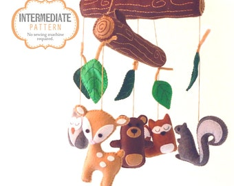 Woodland Mobile Sewing Pattern, DIY Woodland Nursery Mobile, Hand Sewing Pattern, Felt Woodland Baby Mobile, Nursery Decor