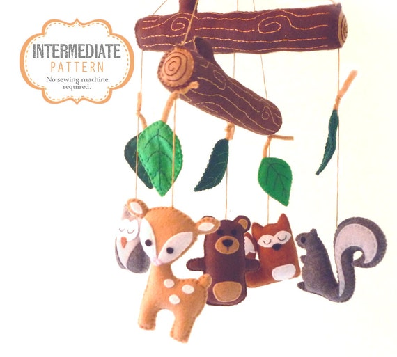 Woodland Mobile Sewing Pattern DIY Woodland Nursery Mobile