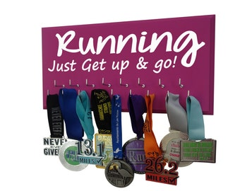 RUNNING just get up and go, running medals hanger exclusive gift for runners. Display all your medals