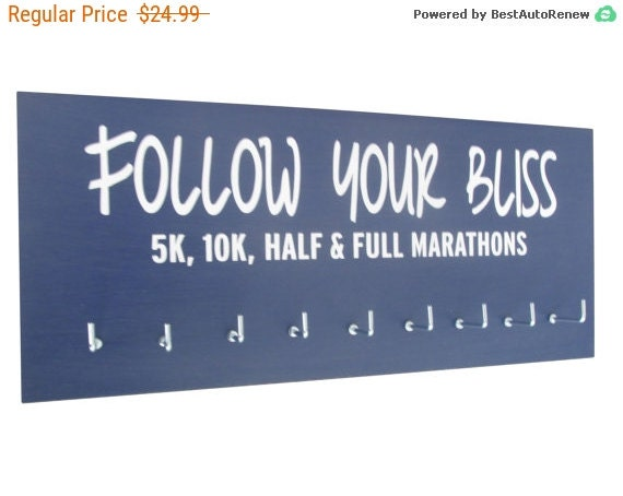 Running medals display rack - follow your bliss