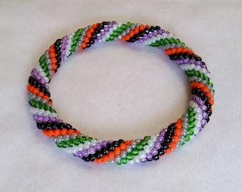 Bright Halloween Spiral Seed Bead Crochet Bangle - Ready to Ship